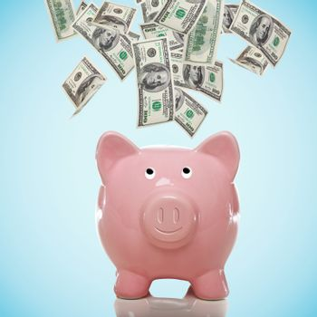 Piggy bank with hundred dollar bills