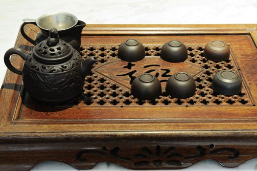 Chinese traditional culture - gongfu tea set with teapot and teacups