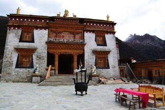 Tibetan Buddhist temple in Daocheng,Sichuan Province, China