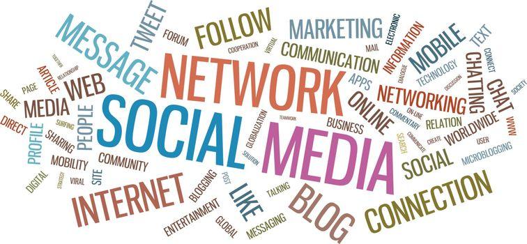 Social media typographical illustration
