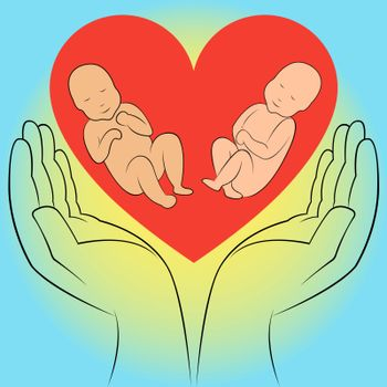 Two unborn babies in human hands on the heart background. Hand drawing vector illustration