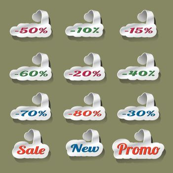 set of paper cut and hanging discount button set
