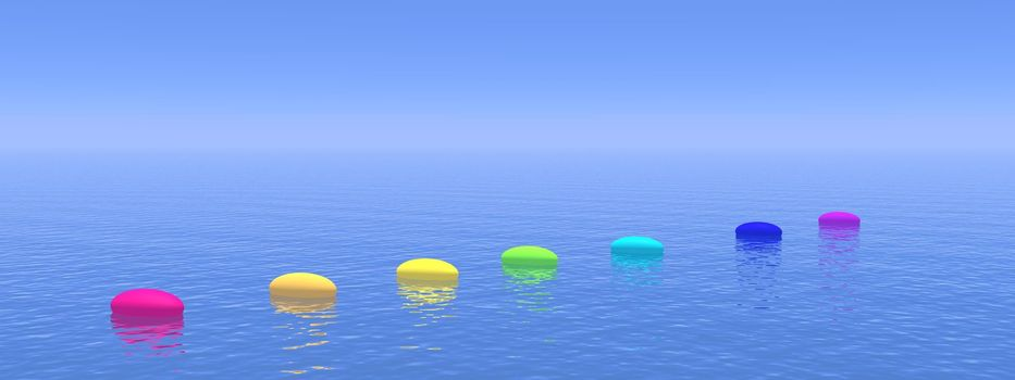 Seven pebbles with chakras colors upon the deep blue ocean, horizon in the background
