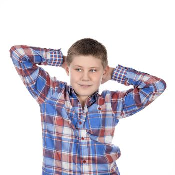 fashion relaxed boy on white background