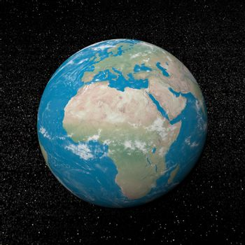 Africa continent and stars - 3D render