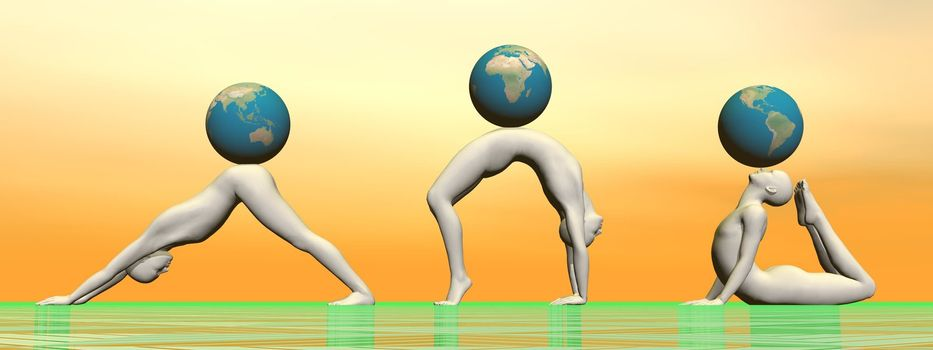 Three males practicing yoga asanas and supporting a globe each in yellow, orange and green background