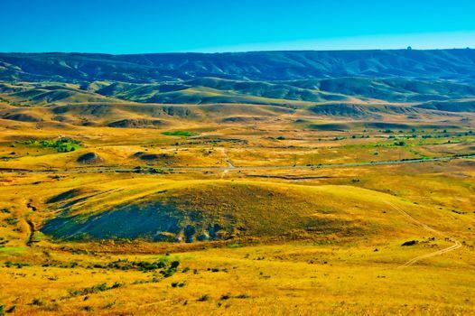 Yellow valley near the village of Koktebel. Crimea. Ukraine