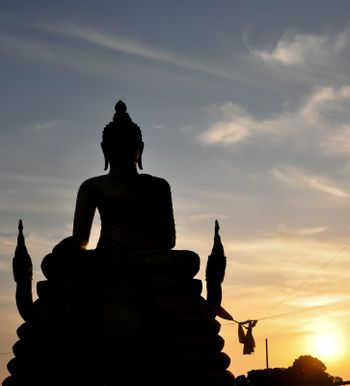 The black shadow of Buddha that happening when sun was gone