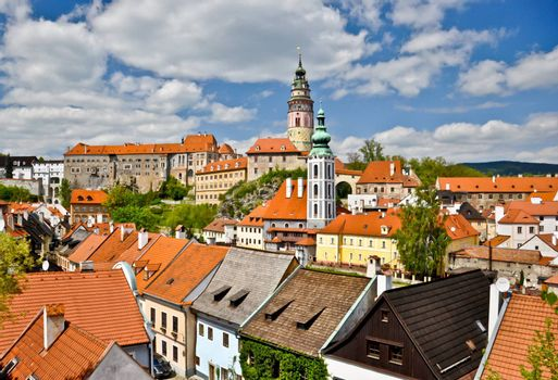 Many of orange and yellow roof that make colorful view of Prague