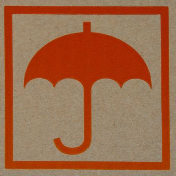 The orange sign of umbrella