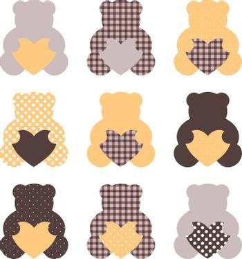 Retro abstract teddy bear collection. Vector Illustration