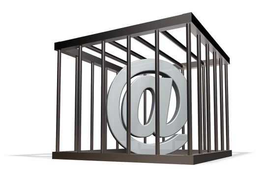 email alias in a cage on white background - 3d illustration