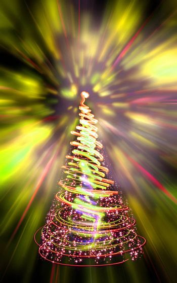 xmas tree (lights) on the color background