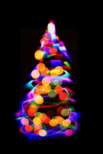 christmas tree from the color xmas lights as nice holiday background