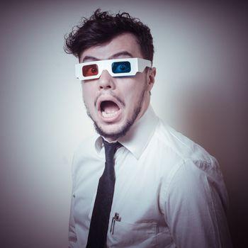 afraid businessman with 3d eyewear