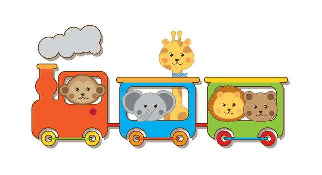 baby animals with train over white backgroun . vector illustration
