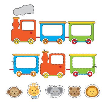 face animals with train over white backgroun . vector illustration