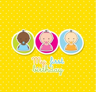 baby cardover yellow background. vector illustration