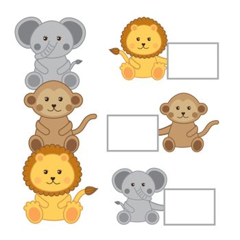 baby animals with announcements isolated . vector illustration
