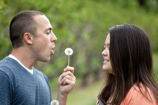 Young happy couple enjoying each others company outdoors.  The man is blowing a dandelion into the face of his girlfriend wife or fiance.
