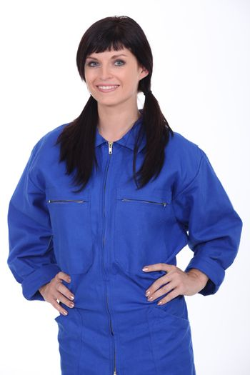 Young worker with overalls