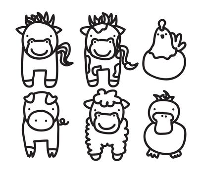 farm animals over white background. vector illustration