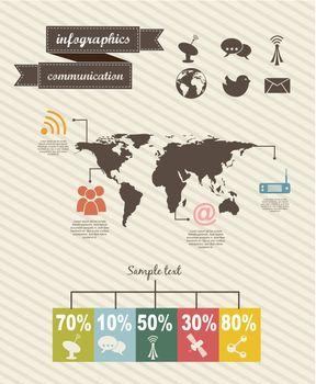 infographics of communication  over beige backgroud. vector