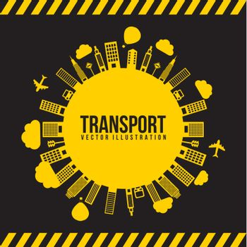 transport and city, black and yellow. vector illutration