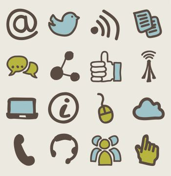 communication signs over beige background. vector