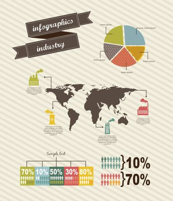 infographics of industry, vintage style. vector illustration
