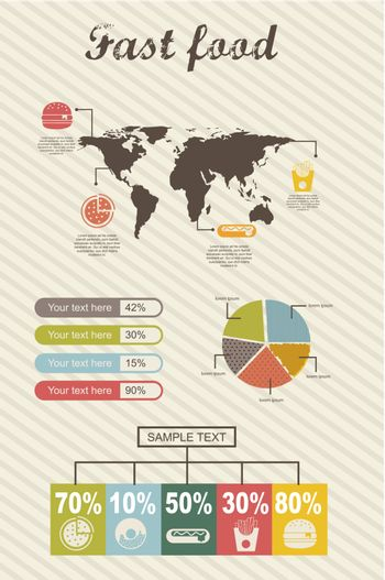 infographics of fast food, vintage style. vector illustration