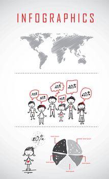 infographics of children over white background. vector illustration
