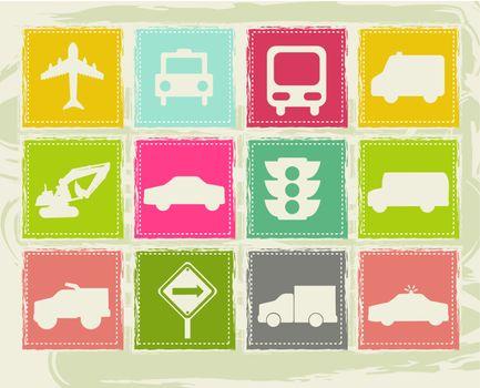 vintage transport icons over grunge background. vector illustration