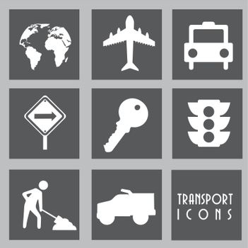 white transport icons over gray background. vector illustration