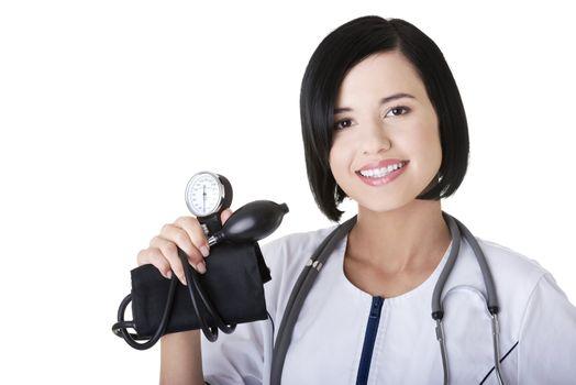 Woman doctor with pressure gauge