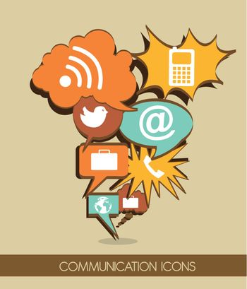 communication icons cartoon, vintage style. vector illustration