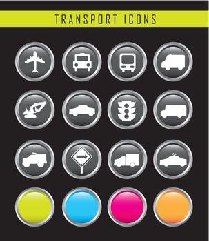 transport buttons over black background. vector illustration