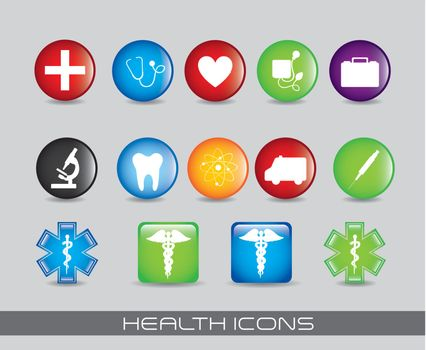colorful heath icons over gray background. vector illustration