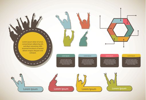 infographics with labels, vintage style. vector illustration