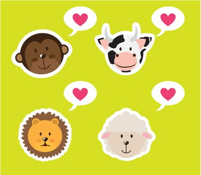 cute animals faces with hearts over green background. vector