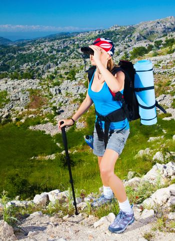 Sporty woman in the mountains