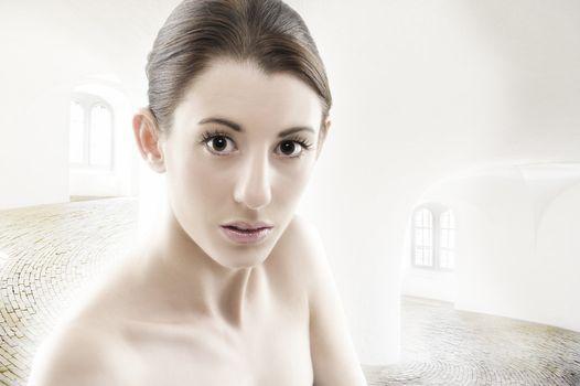 Beautiful naked woman with luminous eyes