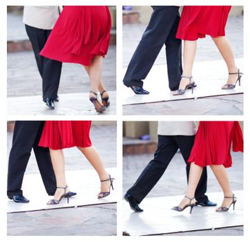collage of a couple dancing the tango in the streets of Buenos A