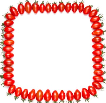 frame of red tomatoes isolated on a white background