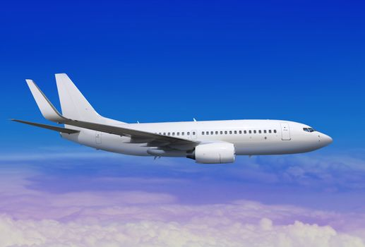 white passenger aircraft in the blue sky landing away
