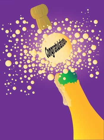 A celebration bottle of bubble being opened with a popping cork and a celebration message.