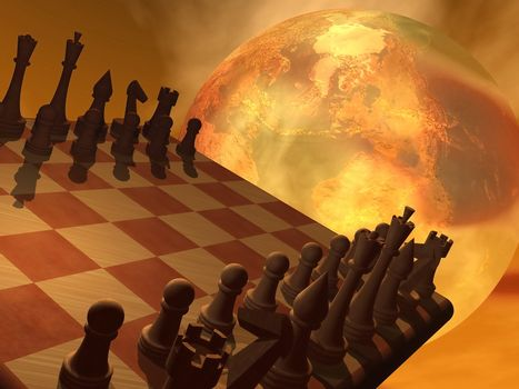 Chess strategy - 3D render