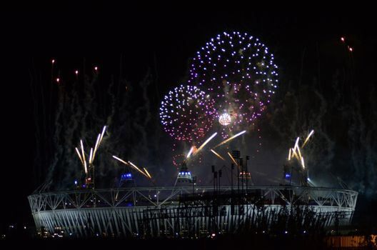 Olympic Fireworks In Stratford London 12th August 2012