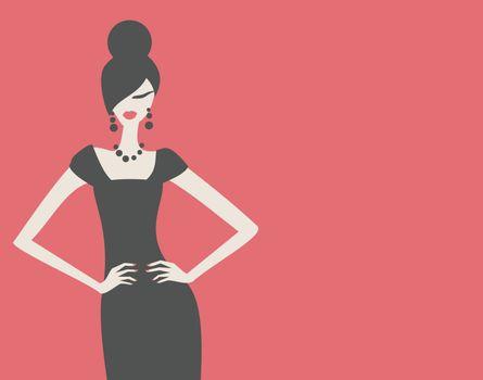 Elegant fashion model in black dress against red background.