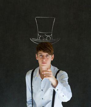 America needs you Uncle Sam man on blackboard background